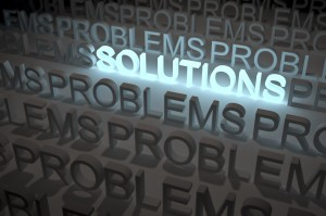 Only One Solution, Shiny Lighted Solution Word, among a lot Problems